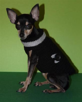 XS dog coat black  & grey (2)